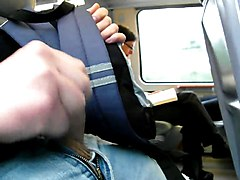 jerking in front of 2 mature women on train