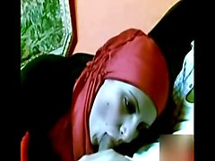 arab girl with red hijab sucking dick