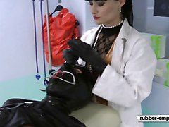 The Rubber Slave on the gynolocical Chair.