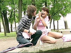 Russian teen couple having sex in public
