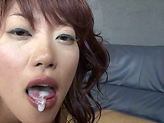 Japanese girl fucks Euro guy jacks him off into her mouth