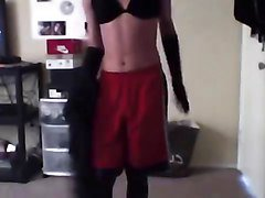 Teen crossdresser stripping