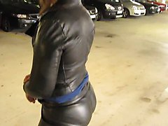 Leather Eva in her fav miss sixties leather suit 2