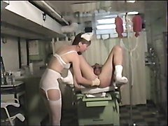 Nurse uses the prostate massager on him!