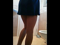 Cute crossdresser in blue dress
