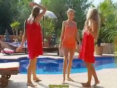 Three Blonde Lezzies Toying With Dildo Outdoor Next To A Pool
