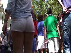 spanish candid ass teen in white short from gluteus divinus