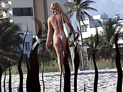 blonde in blue thong at south beach