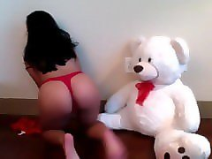 veronika live on 720cams.com - sexy brunette playing teddy bear o