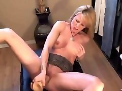 blonde milf squirts with huge dild. ladonna from dates25.com