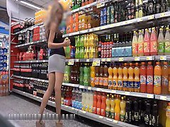italian girl tries bottle after visiting supermarket