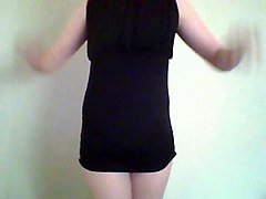 blonde crossdresser in black dress