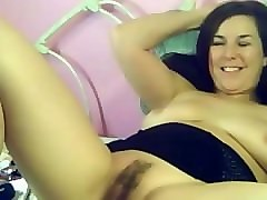 my busty mom fucking her hairy pussy with dildo