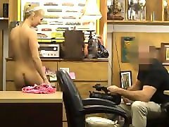 blonde stripping and sucking dick in pawn shop office