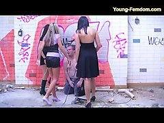 3 young femdom girls in action - domination from a fat guy