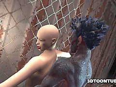 bald 3d babe fucked by a monster