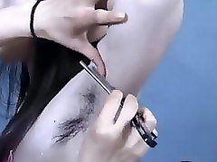 cute girl hairy armpits shaved by straight razor.