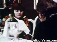 Vintage Classic Clip Of A Hot Threesome Shot In A Restaurant