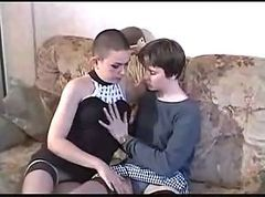 Mature and young lesbians try fist and a male