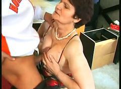 old hairy granny fucked in a store room