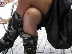 Flasing Stockings In Public Cafe