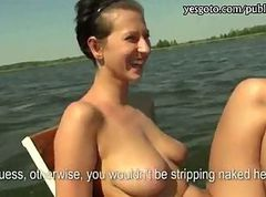 Slut with big tits picked up and banged on boat for money